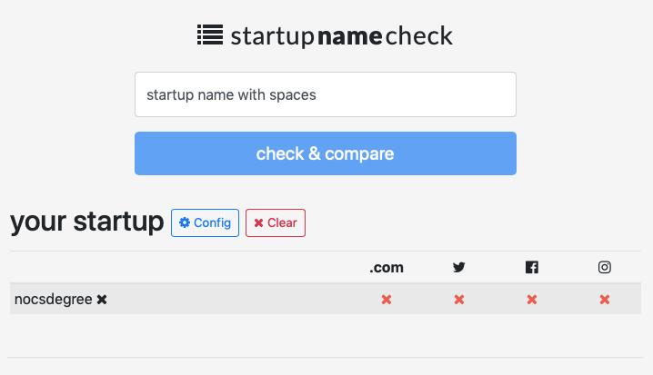 screenshot of Startup Name Check