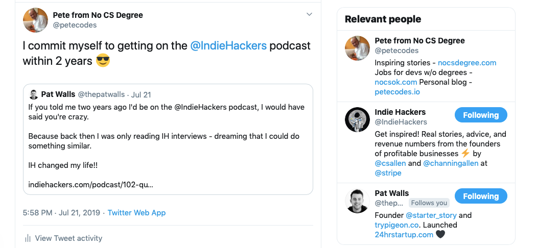 Twitter screenshot committing to being on podcast