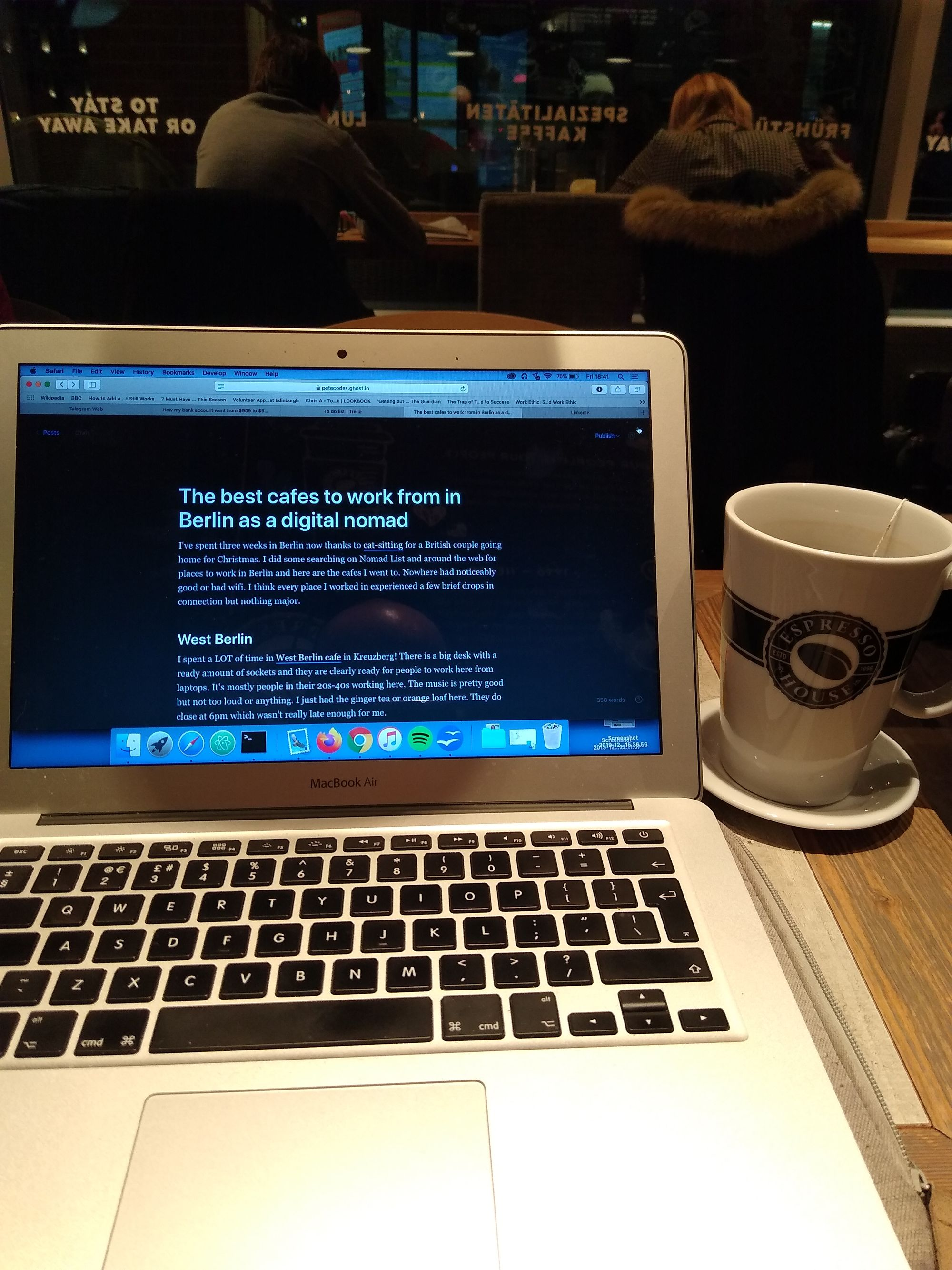 Late night working in Espresso Cafe