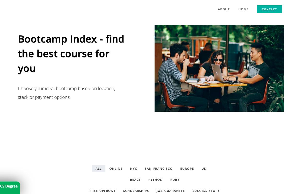screenshot of Bootcamp Index