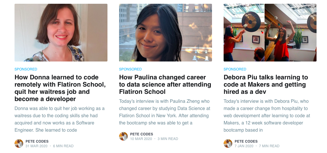 Screenshot from No CS Degree blog of interviewees